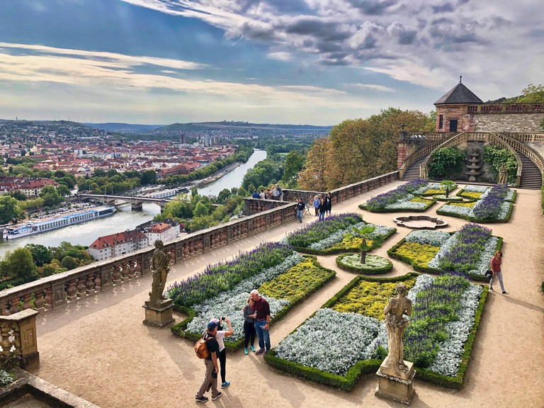 Summer view at Wurzburg city and gardens from the Marienburg fortress, Germany.