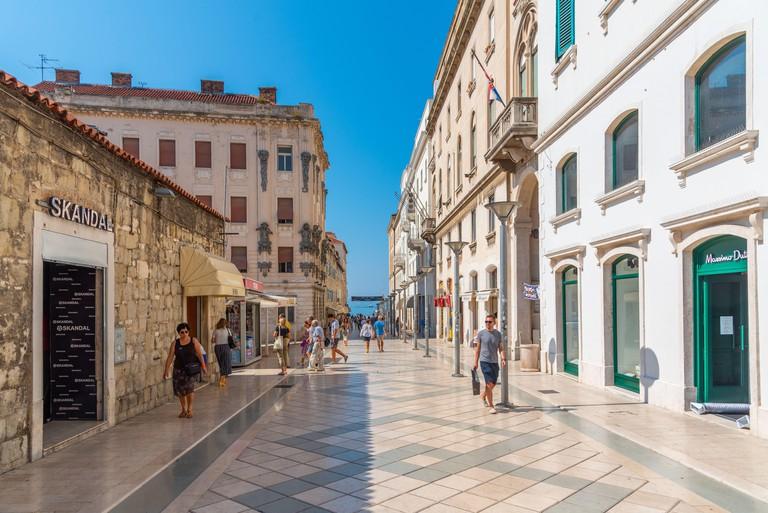 People walking at Marmontova street in Split, Croatia