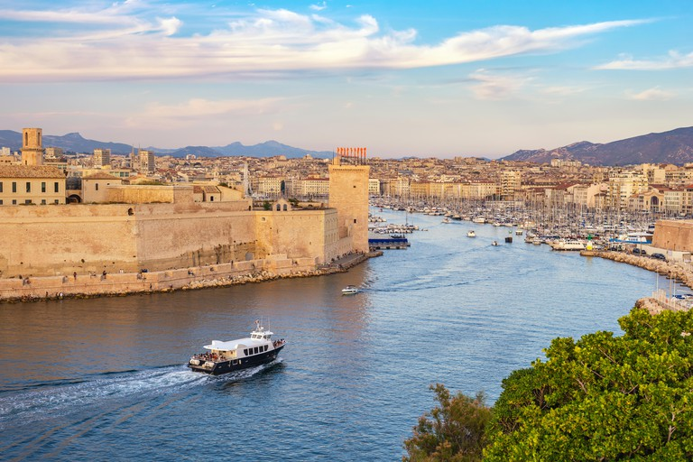 Marseille France, aerial view city skyline at Vieux Port PP99WT
