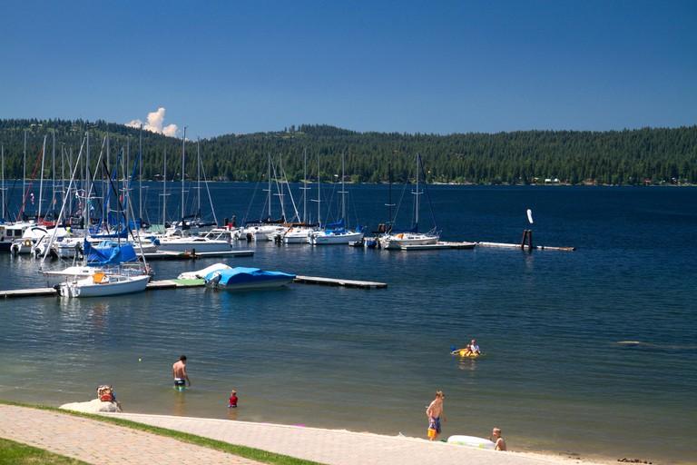 Boat marina and beach at Payette Lake, McCall, Idaho, USA.