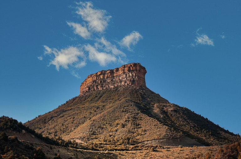 Morning sun over Point Lookout at Mesa Verde National Park in  Cortez Colorado