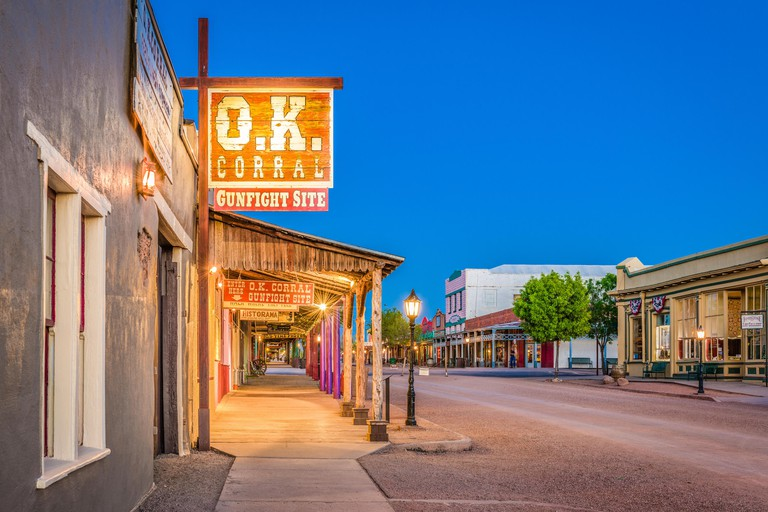 TOMBSTONE, ARIZONA - APRIL 17, 2018: The O.K. Corral Gunfight Site at twilight. The site is known for the most famous shootout in the history of the A