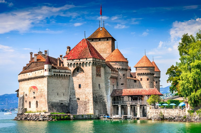 HYC6FT Chillon Castle, Switzerland. Montreaux, Lake Geneve, one of the most visited castle in Swiss, attracts more than 300,000 visitors every year.