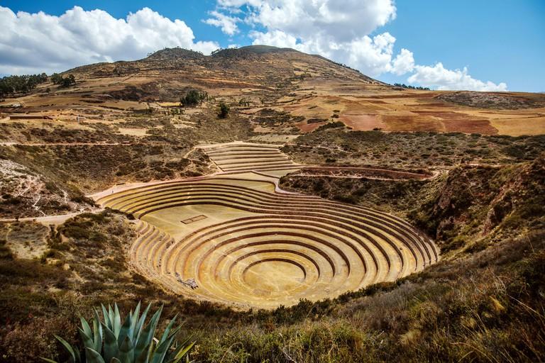Moray ancient Inca agricultural ruins with circular terraces, Peru_2BFAM1X