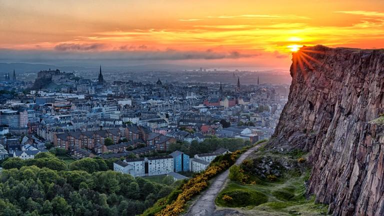 Sunset over Edinburgh Old Town taken from Arthurs Seat