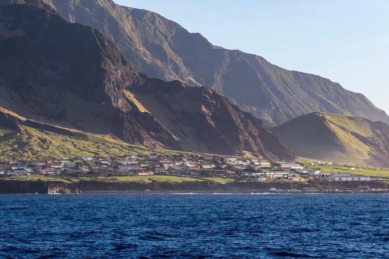 Edinburgh of the Seven Seas in late afternoon sunlight, Tristan da Cunha, British Overseas Territories, South Atlantic Ocean