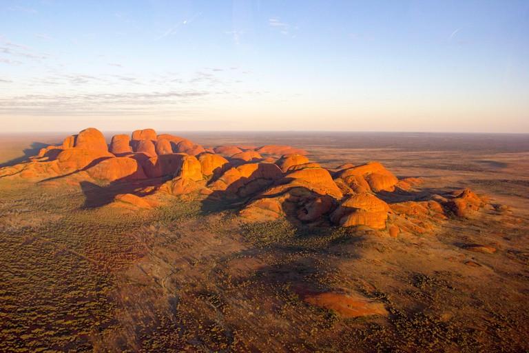 Aerial View of Kata Tjuta at sunrise, Red Center. Northern Territory, Australia