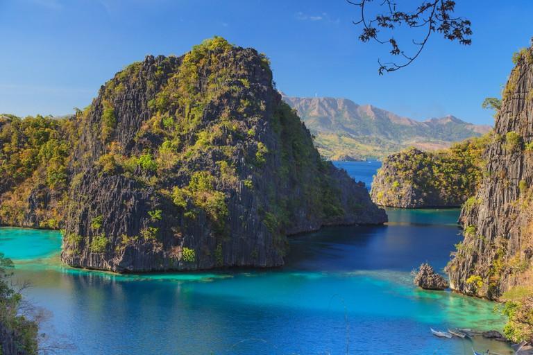 Palawan, Coron Island, Kayangan Lake, elevated view from one of the limestone cliffs