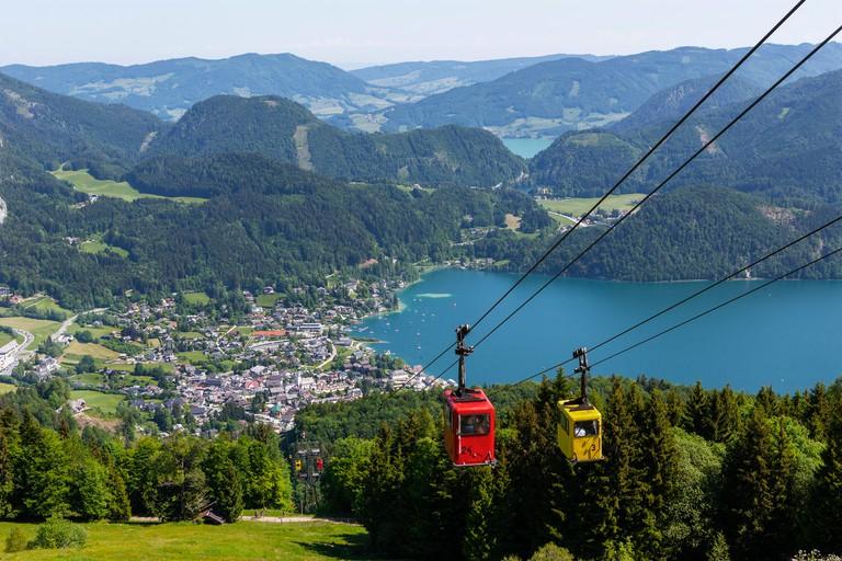 Austria, Salzburg State, Salzkammergut, St. Gilgen, Wolfgangsee, Zwoelferhorn cable car