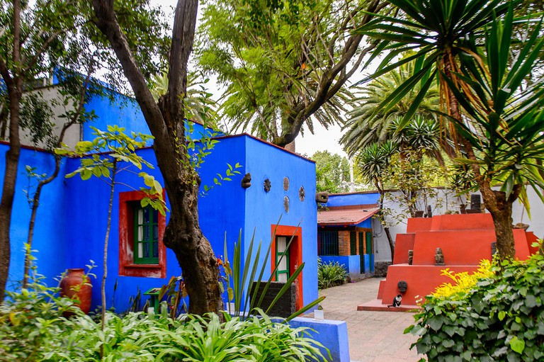 COYOACAN, MEXICO - OCT 28, 2016: Interior yard of the Blue House (La Casa Azul), historic house and art museum dedicated to the life and work of Mexic