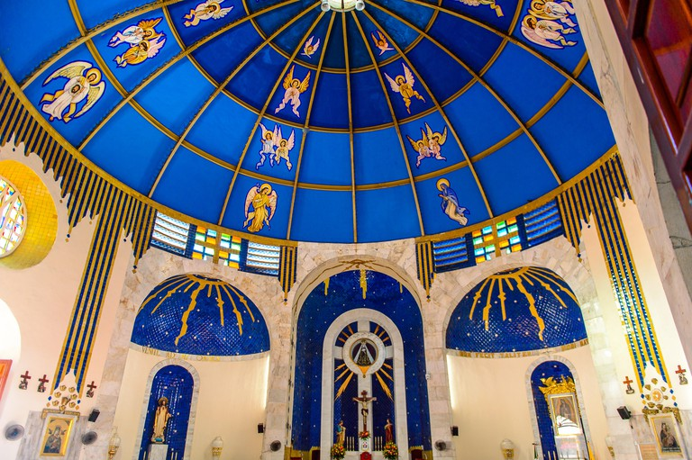 ACAPULCO, MEXICO - OCT 30, 2016: Interior of the Archdiocese of Acapulco, a Roman Catholic Archdicese, Guerrero, Mexico. It was established on the 18