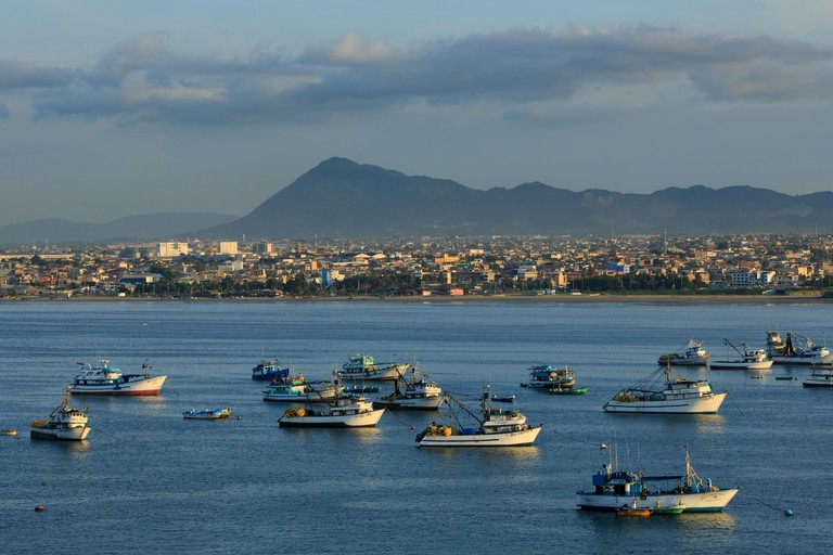Fishing boats, Port of Manta, Ecuador, South America