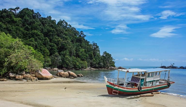 Fishing boats at Monkey Beach, Tanjung Bungah, near Batu Ferringhi, Penang, Malaysia