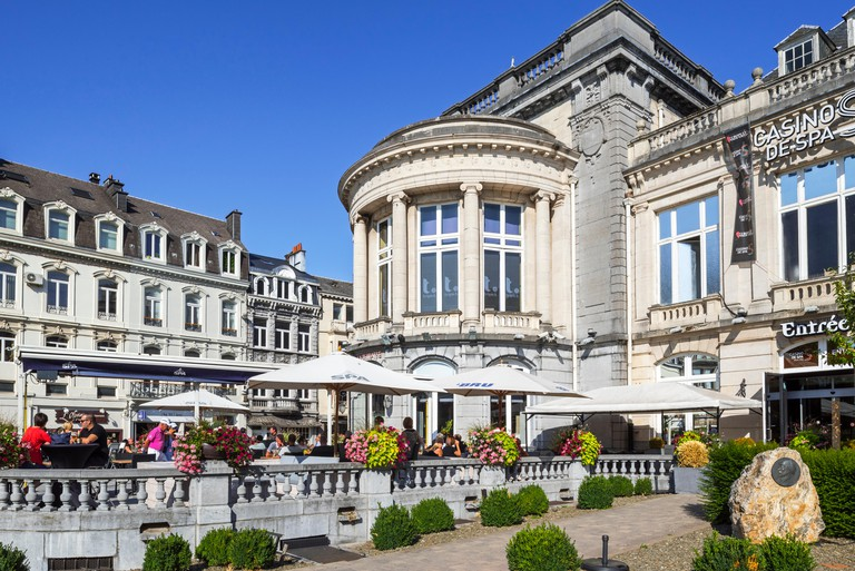 Casino de Spa and brasserie in summer in the city Spa, Liege, Belgium