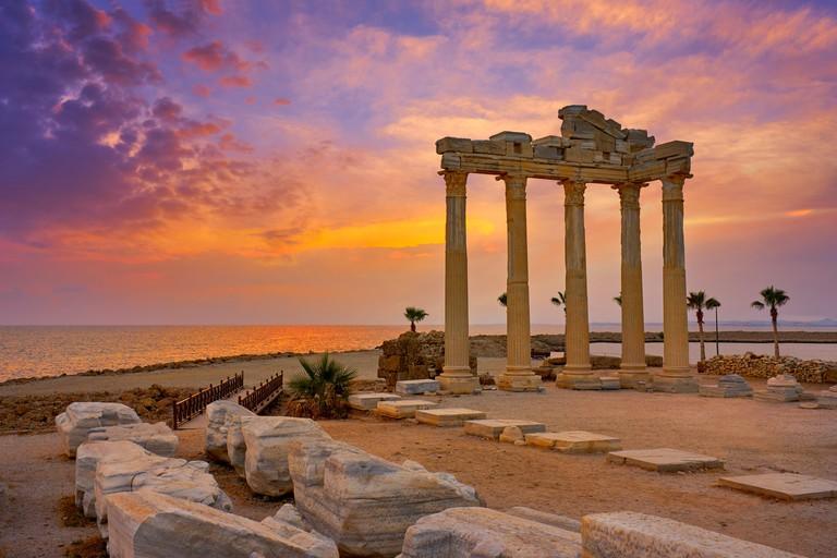 Apollon Temple at sunset, Side, Antalya, Turkey