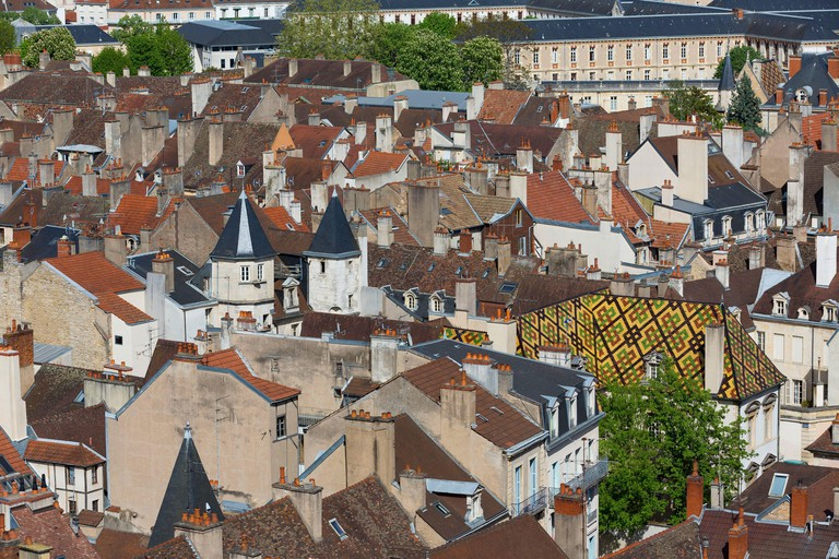 Cote d'Or, Cultural landscape of Burgundy climates listed as World Heritage by UNESCO, Dijon, the roofs seen from the Philippe le Bon tower_R7T5M6