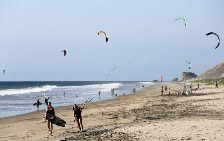 Kitesurfing at Playa Santa Marianita, Ecuador