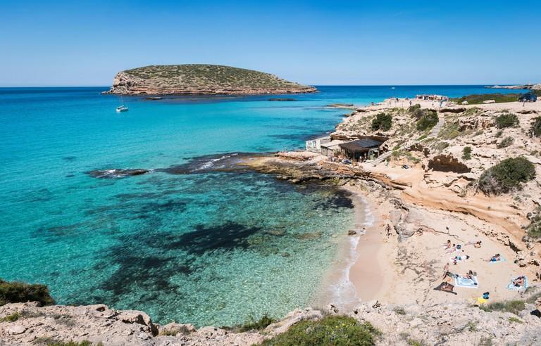 Panoramic shot of Illa de Bosc by the cove nearby Platja de Comte in Ibiza_MM8013