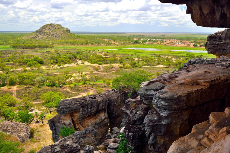 View from Anjalak Hill over the huge landscape and wetlands  of Arnhem Land, Northern Territory, Australia