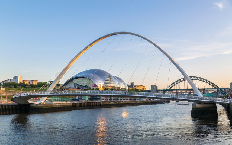 The Millennium Bridge, Tyne Bridge and Sage Gateshead Arts Centre, Newcastle-upon-Tyne, Tyne and Wear, England, United Kingdom, Europe
