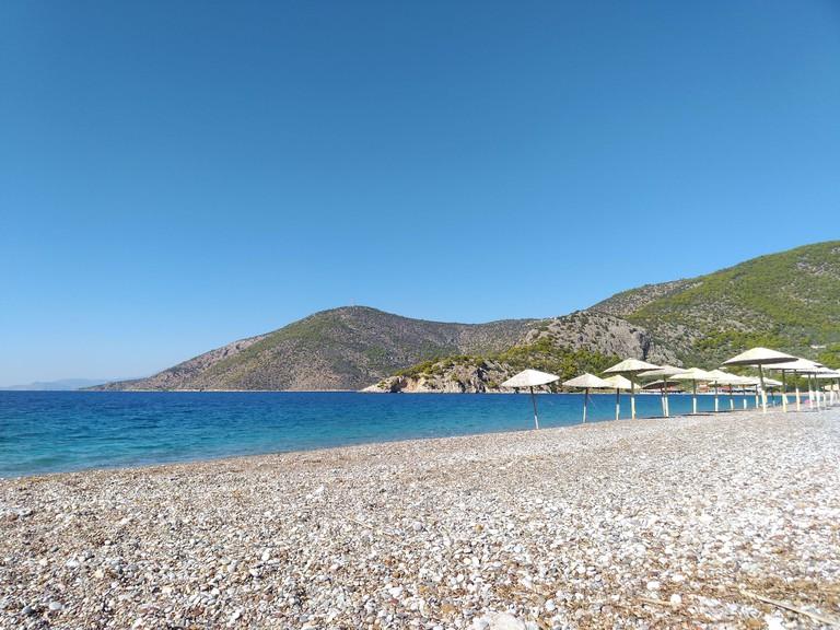 Deserted Greek beach in winter at Psatha Attica Greece 2EKTAT7