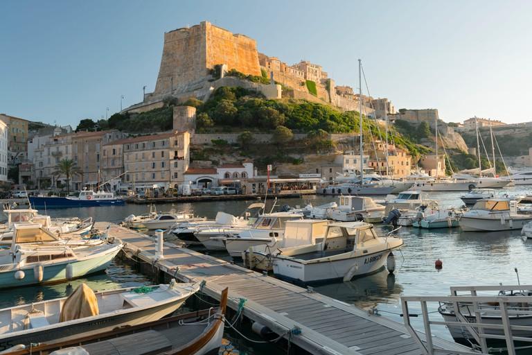 Port and citadel of Bonifacio, Corse du Sud, Corsica, France