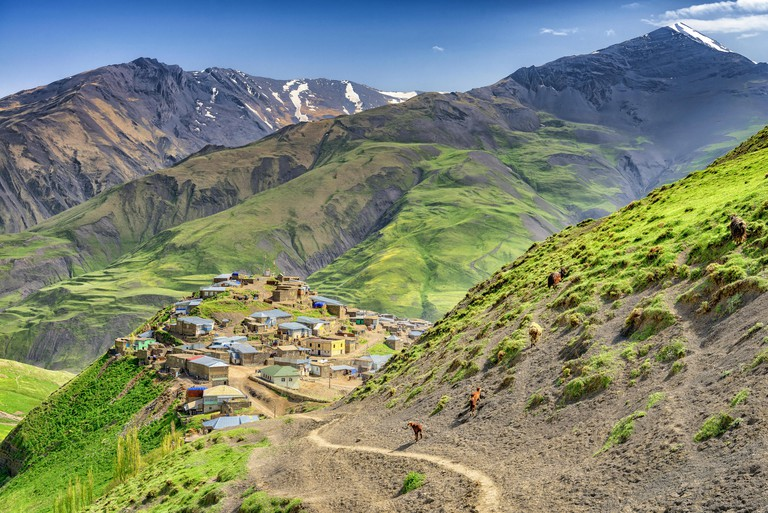 Azerbaijan landscape of nature, Beautiful mountains and hills in the north of Azerbaijan near Quba in the village Khinaluq