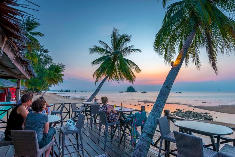 Malaysia, Pahang, Pulau Tioman (Tioman Island), Berjaya Beach, Berjaya Tioman Resort, Pulau Rengis (Rengis Island) in background W2C7P3