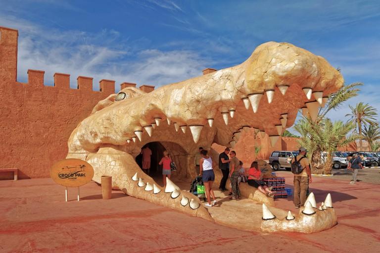Crocodile head feature as the entrance to Croco Park, Agadir, Southern Morocco, West Africa.