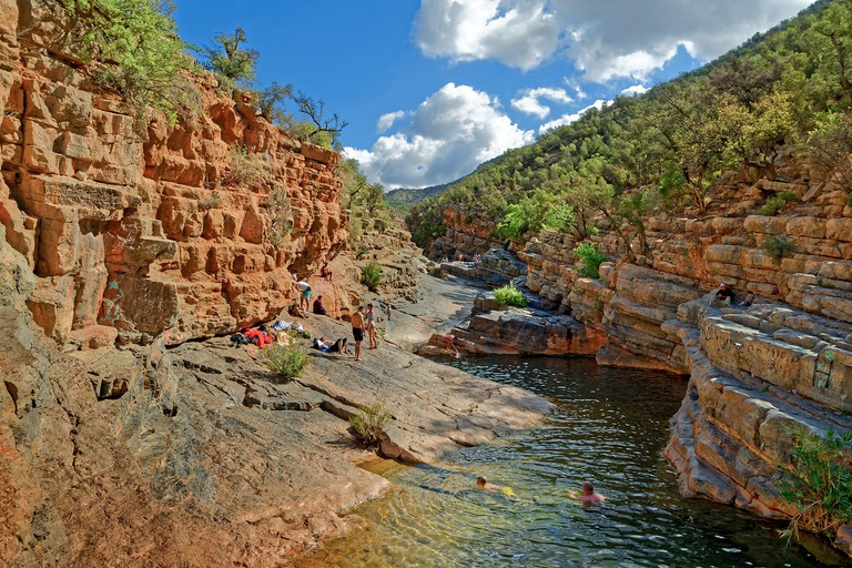 Ravine in the lower Atlas Mountains near Agadir, known as, and marketed under the name, Paradise Valley, Morocco, North West Africa.