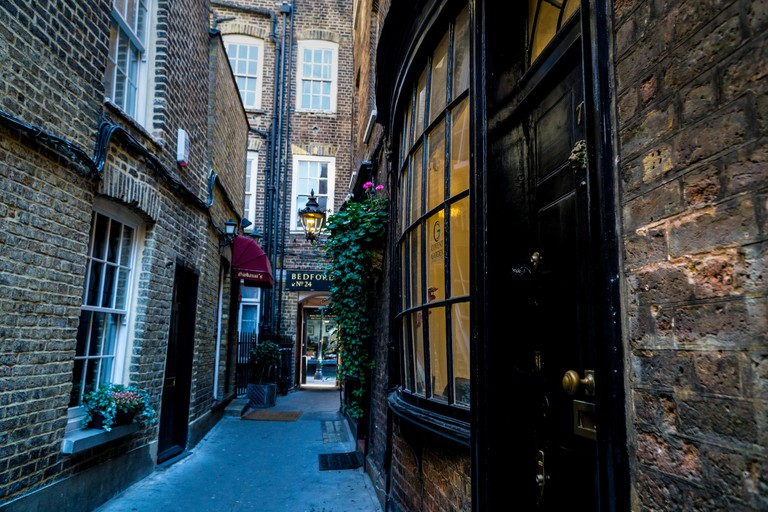 Bedfordbury in London England one of the shooting locations for Harry Potter movies