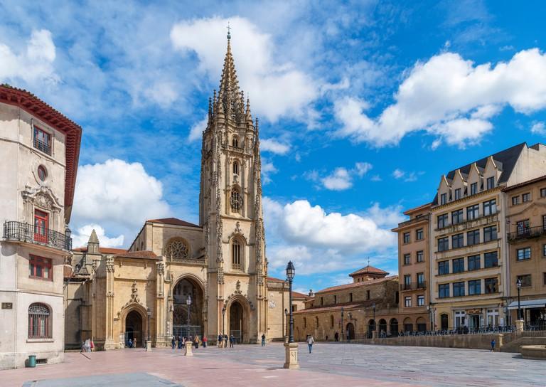 Oviedo Cathedral in Plaza Alfonso II el Casto, Oviedo, Asturias, Spain