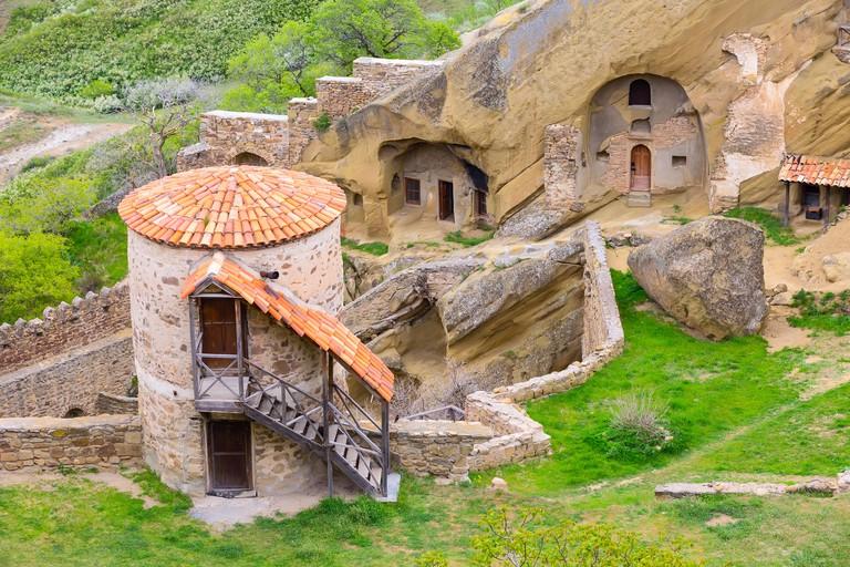 David Gareji or Garedja cave monastery complex aerial view in Georgia, Kakheti region
