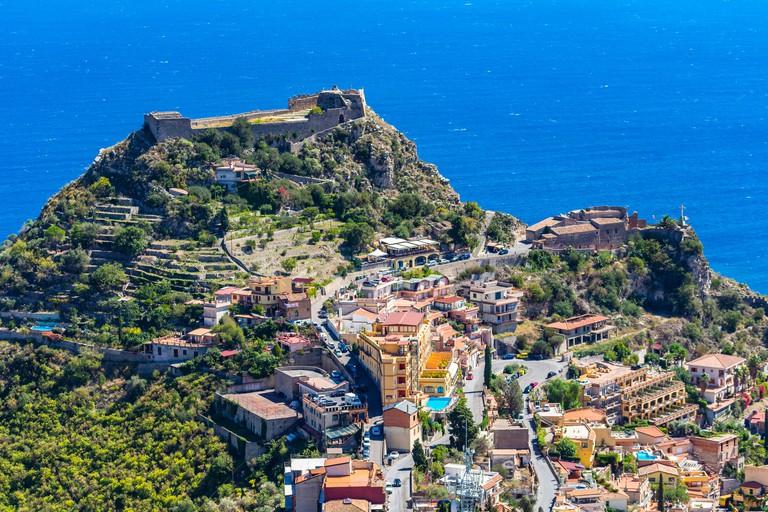 Taormina.  Taormina has been main  tourist destination in Sicily since the 19th century. Taormina, Sicily, Italy.
