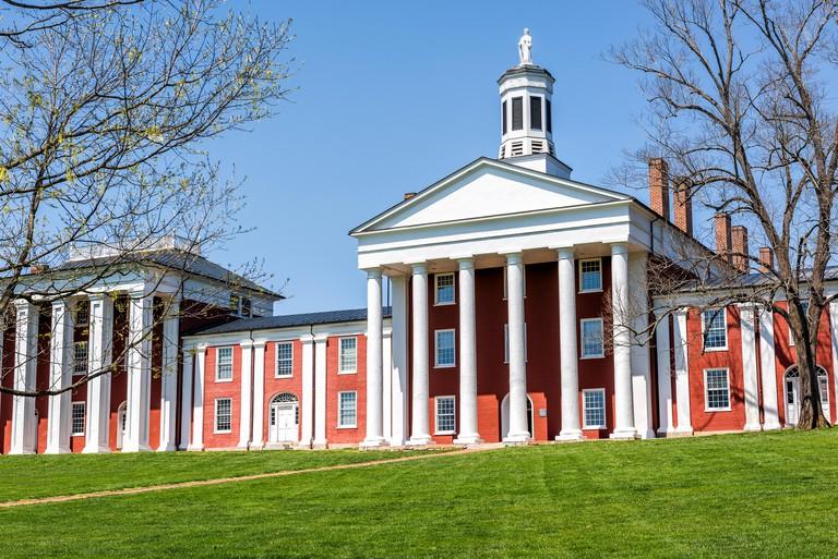 Lexington, USA - April 18, 2018: Washington and Lee University hall in Virginia
