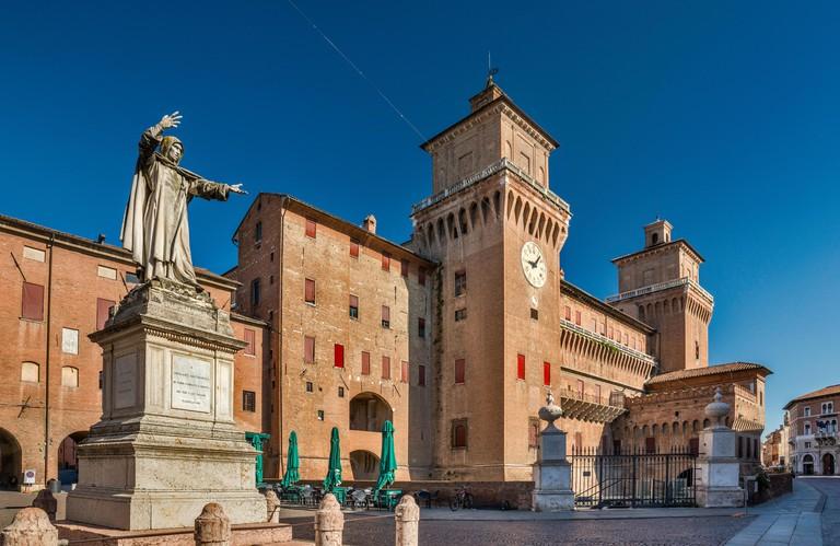 Girolamo Savonarola statue, Castello Estense (Castello di San Michele), medieval castle at Corso Martiri della Liberta, street in Ferrara, Emilia-Roma