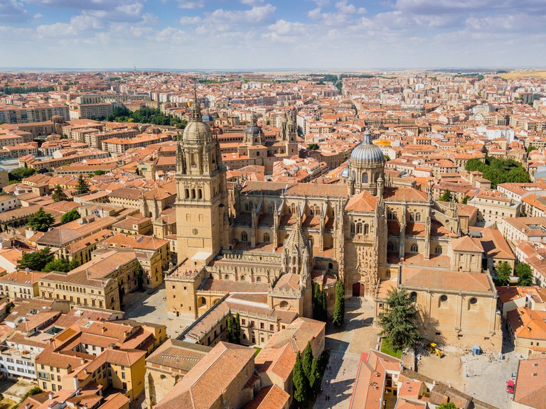 Aerial view of Salamanca with new and old cathedral in the first plan, Spain