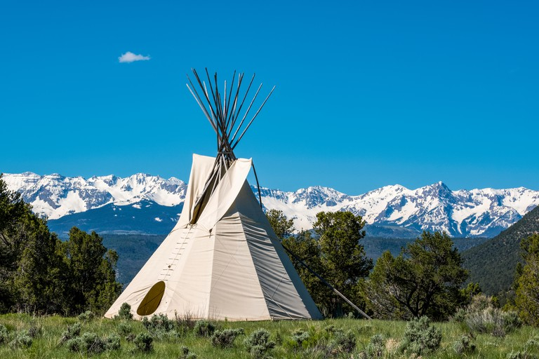 A teepee near the visitor centre in Colorado's Ridgway State Park; Colorado, United States of America