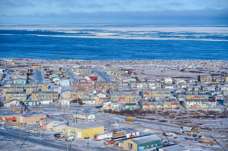 Town of Churchill from the air in early winter, Churchill, Manitoba, Canada.