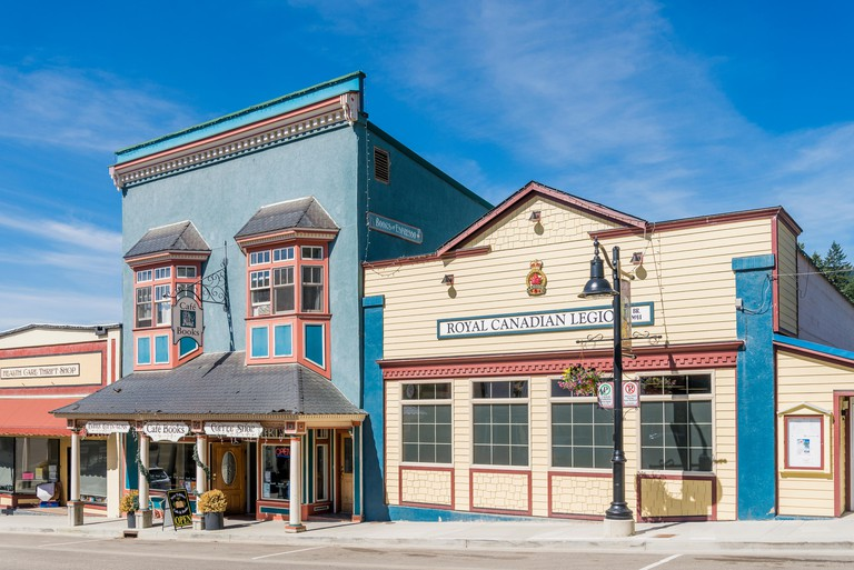 The Royal Canadian Legion and other heritage buildings, Rossland, British Columbia, Canada