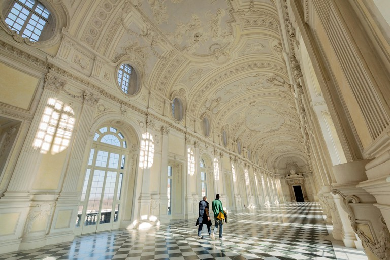 TURIN, ITALY, FEBRUARY  2019 : The Grand Galley of  Venaria Reale, Royal Palace, Unesco heritage.
