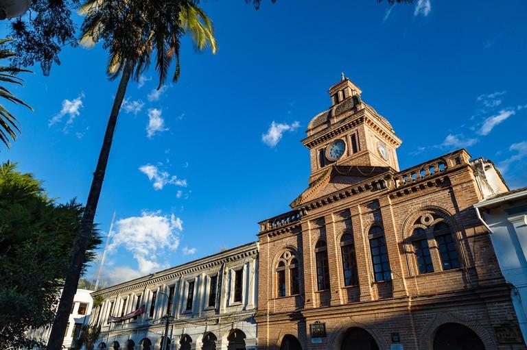 Ibarra, Ecuador, January 7, 2019: Torreon de Ibarra is the central tower of the old Teodoro de la Torre school, an emblematic building of the city.