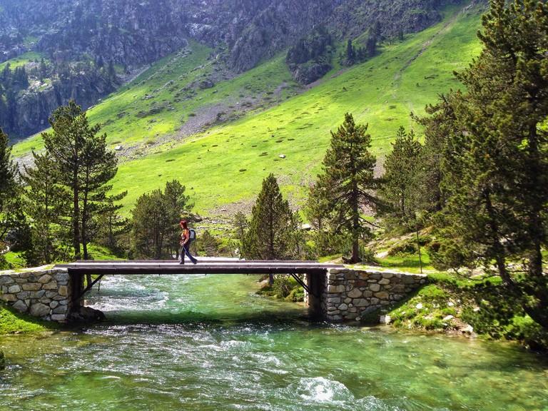 Hiking in Hautes-Pyrenees, Pont d'Espagne, Cauterets, Occitanie France