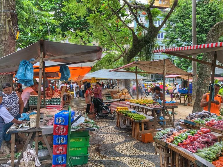 Outdoor food market in a neighbourhood in Rio de Janeiro, Brazil.