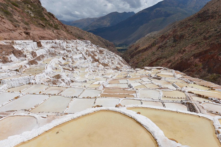 Salina de Maras, the traditional inca salt field in Maras near Cuzco in Sacred Valley, Peru.