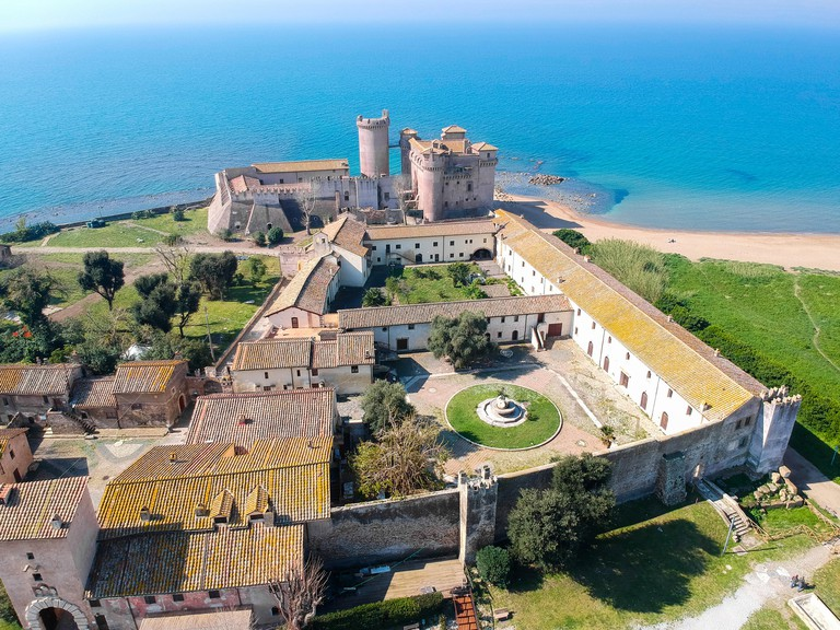Aerial view of Castle of Santa Severa, north of Rome, italy.