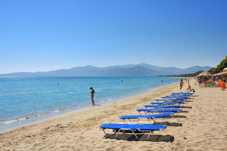 2C61508 Marathon, Greece - Oct 01, 2016: The beautiful Schinias sandy beach, one from most popular beach in Attica