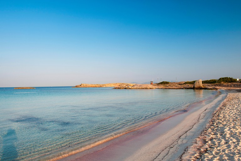 Formentera, Balearic Island, Spain. Beautiful picture postcard image of the Ses Illetes beach, voted the best beach in Europe.