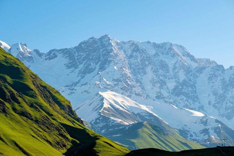 Shkhara peak in the massif known as the Bezingi (or Bezengi) Wall, Ushguli, Samegrelo-Zemo Svaneti region, Georgia.
