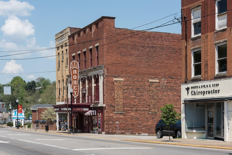 Downtown block that includes the Robey Theatre in Spencer, West Virginia